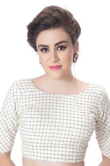 Picture of Palatial white designer checkered blouse