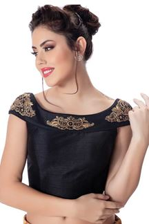 Picture of Dignified black designer raw silk blouse