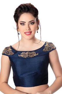 Picture of Catchy navy blue designer plain blouse
