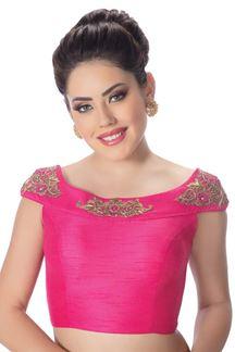 Picture of Relishing pink designer raw silk blouse