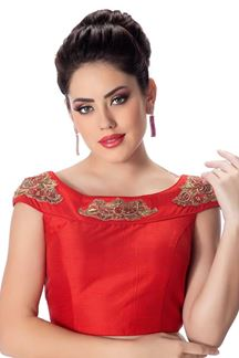 Picture of Dazzling red designer raw silk blouse