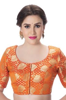 Picture of Lavish orange designer brocade blouse