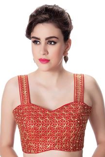 Picture of Festive red designer embroidered blouse