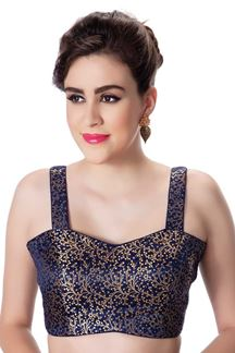 Picture of Catchy navy blue designer fancy blouse