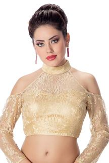 Picture of Sensational gold designer self lace blouse
