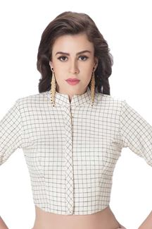 Picture of Chic white designer checkered blouse