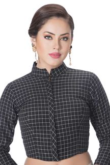 Picture of Trendy black shirt style designer blouse