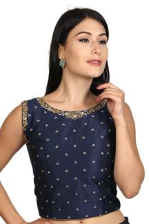 Picture of Eternal blue designer art silk blouse