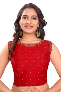Picture of Striking red designer zari worked blouse