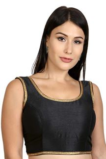 Picture of Sophisticated black plain designer blouse