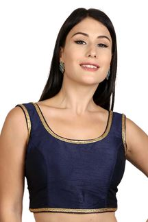 Picture of Fetching navy blue designer plain blouse