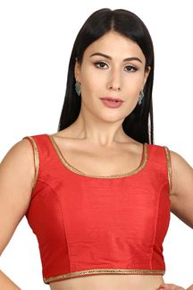 Picture of Dazzling red designer plain blouse