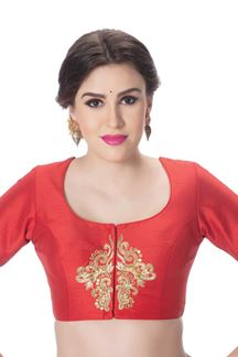 Picture of Vibrant red designer blouse with butta
