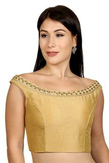 Picture of Catchy gold designer boat neck blouse