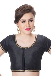 Picture of Bold black designer blouse with border