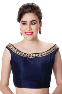Picture of Lavish blue designer boat neck blouse