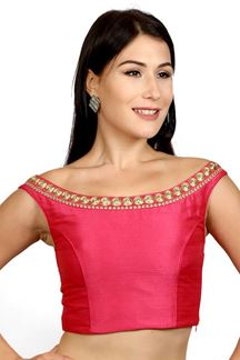 Picture of Feminine pink designer boat neck blouse