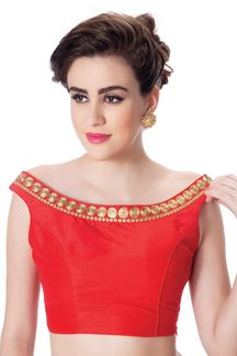 Picture of Striking red designer boat neck blouse