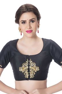 Picture of Lustful black designer art silk blouse