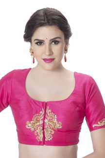 Picture of Fetching pink designer blouse with zari