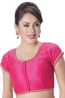 Picture of Catchy pink designer blouse with border