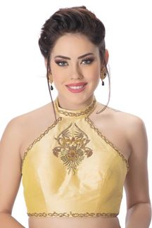 Picture of Classy gold designer halter neck blouse