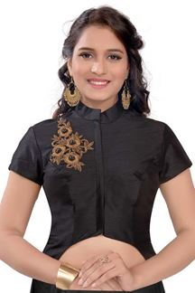 Picture of Polished black designer blouse in resham