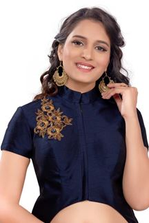 Picture of Lovely blue designer art silk long blouse