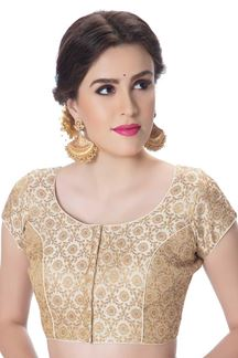 Picture of Alluring cream designer self zari blouse