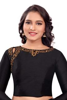 Picture of Bold black designer blouse with resham