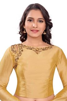 Picture of Novel gold designer blouse with resham