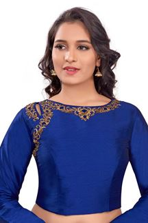 Picture of Catchy royal blue designer plain blouse