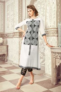Picture of Peculiar white kurti with black patch
