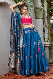 Picture of Juicy pink & blue designer lehenga choli