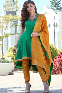 Picture of Ravishing green & yellow designer suit