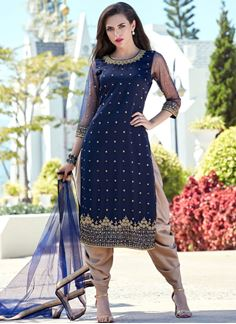 Picture of Graceful dark blue & gold designer suit