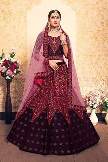 Picture of Attractive burgundy designer lehenga Choli set