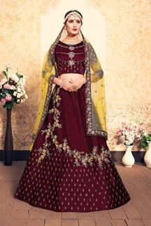 Picture of Remarkable maroon designer Lehenga choli