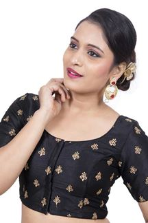 Picture of Edgy black designer blouse with motifs