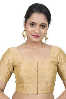 Picture of Tempting gold designer blouse with zari