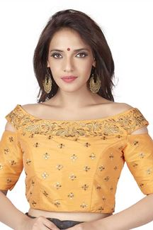 Picture of Sassy pale yellow designer fancy blouse