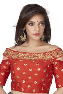Picture of Sporting red designer blouse with zari