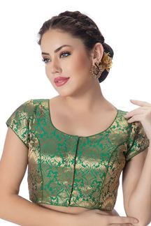 Picture of Upstyle green designer brocade blouse