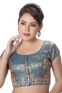 Picture of Heavenly blue designer brocade blouse