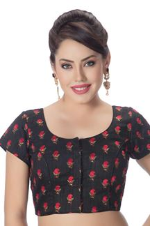 Picture of Trendy black designer blouse with motifs