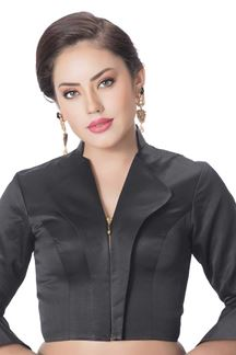 Picture of Tasteful black designer collared blouse