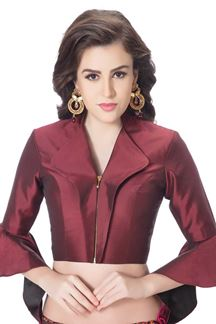 Picture of Catchy maroon designer blouse with zip