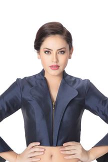 Picture of Lustful collared blue designer blouse