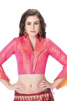 Picture of Demure pink designer blouse with zip