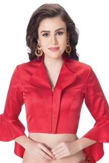 Picture of Elaborate red designer blouse with zip